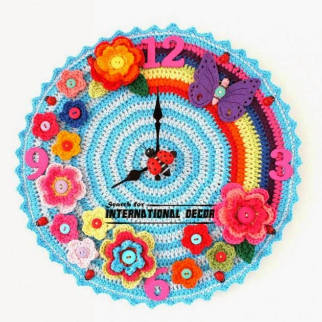 diy wall clock, cool wall clocks,creative wall clocks,crochet wall clock