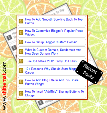 Make feedburner recent post widget for blogger blog