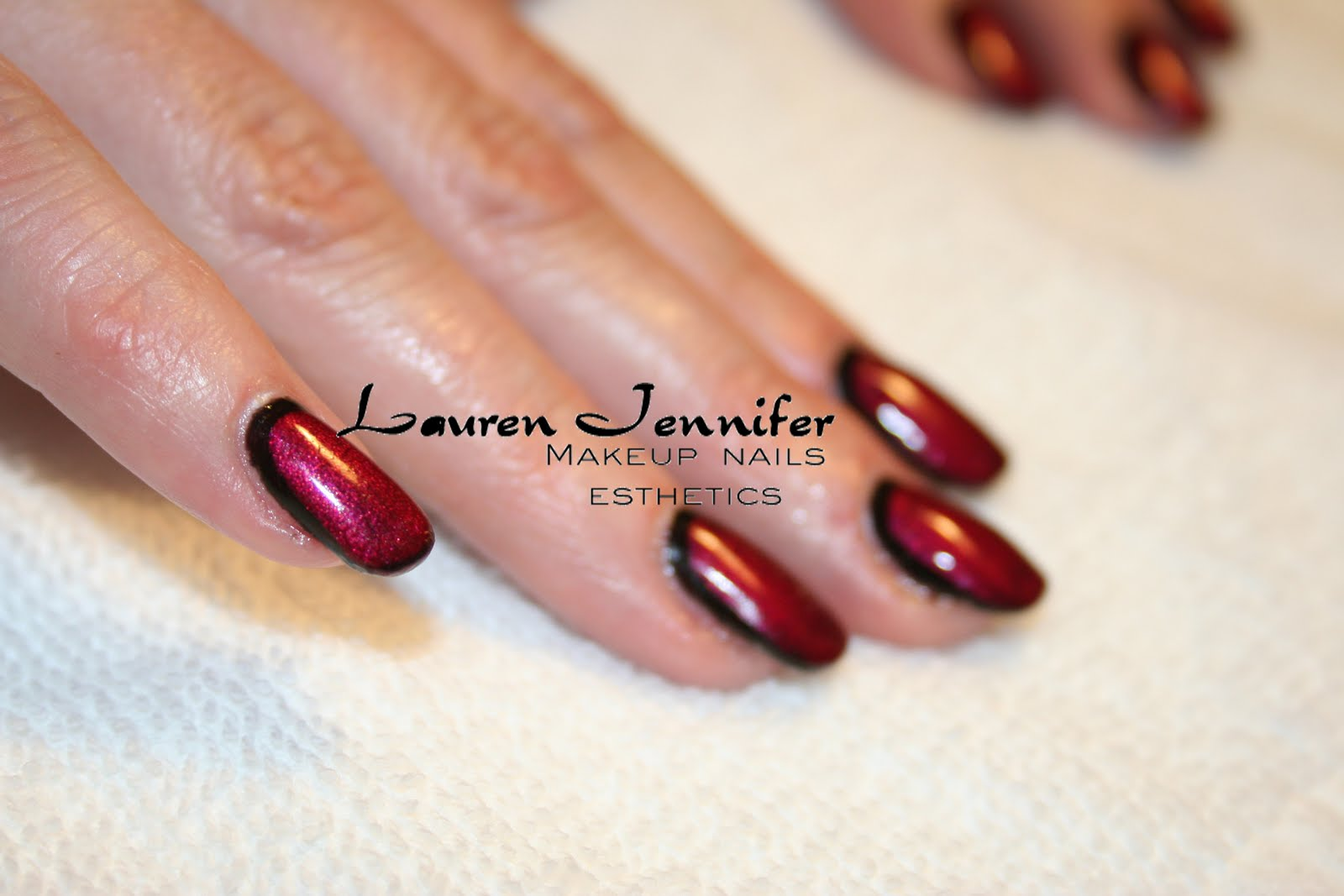 Binetti inspired nails in CND Shellac (Black Pool and Red Baroness
