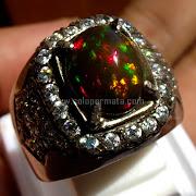 Cincin Batu Permata Black Opal Kalimaya - SP742