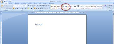 Cara Mudah Membuat Titik-Titik Untuk Daftar Isi di Microsoft Word 2007 dan Word 2010 tahap pertama