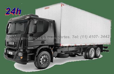 Transporte até 14.000kg de carga, com o caminhão de mudança truck baú