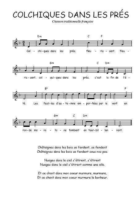 Resultat d'imatges de Colchiques dans les prés partitura