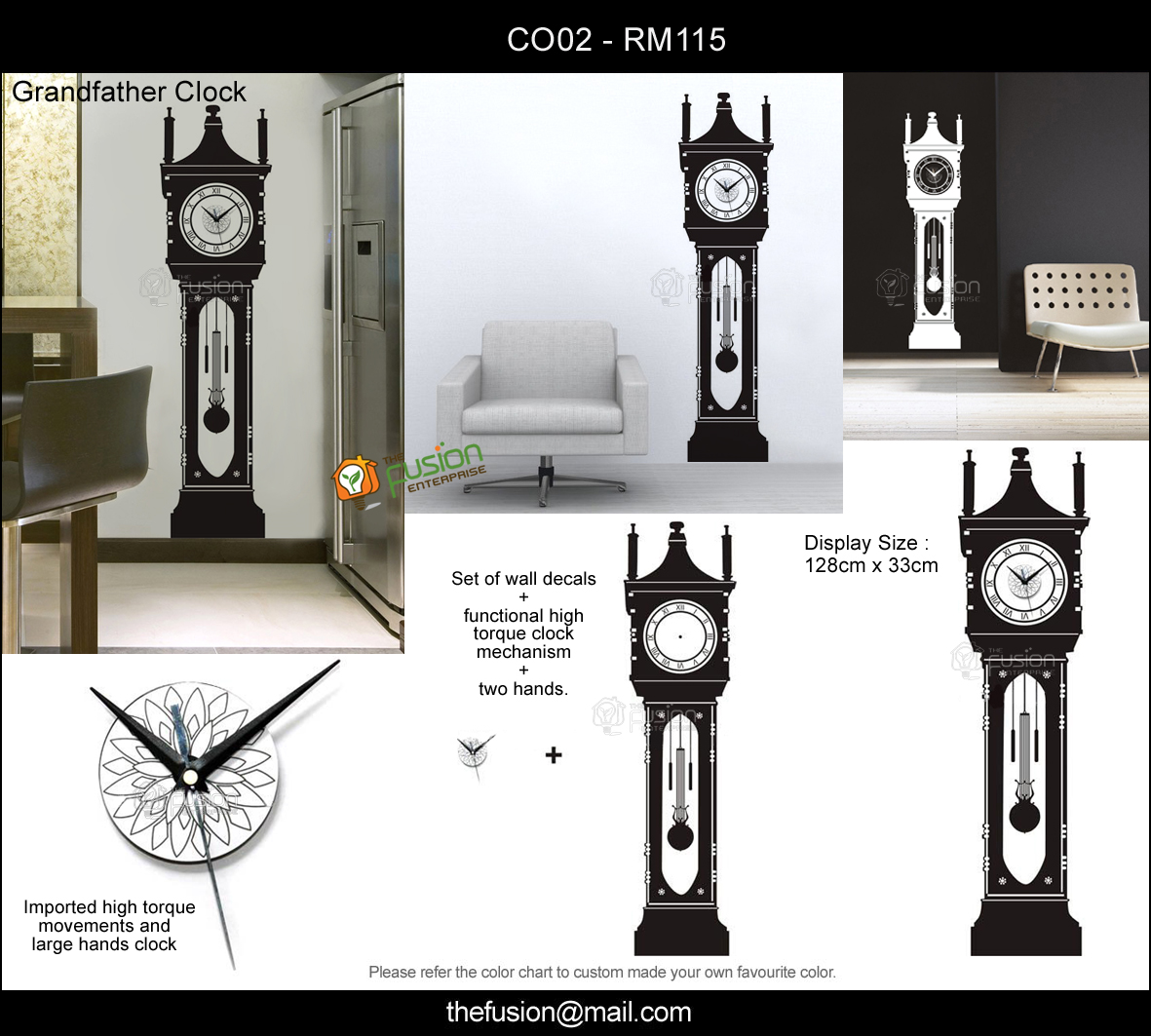 TheFusionEnterprise DIY Wall Decal Wall Stickers Clock Decal