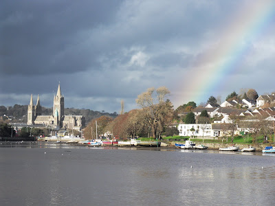 Rainbow over the river Truro in Cornwall