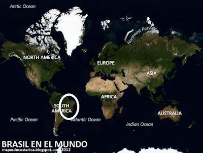 Ubicación de Brasil en El Mundo, BING 2012
