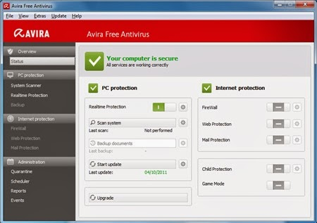 Avira free Antivirus 2014_Interface