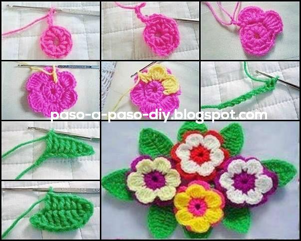 Como Tejer Flor Crochet Con Hojas Diy Paso A Paso - Como-hacer-una-flor-de-lana