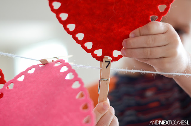 Valentine's hearts fine motor activity for toddlers and preschoolers from And Next Comes L