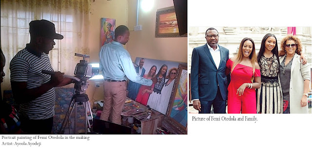 SPICE TV crew with the Artist Ayeola Ayodeji during the portrait painting shooting session of Family portrait painting art of Femi Otedola. Showing on DSTV channel 192 on sunday 11th od October 2015 9:30am.
