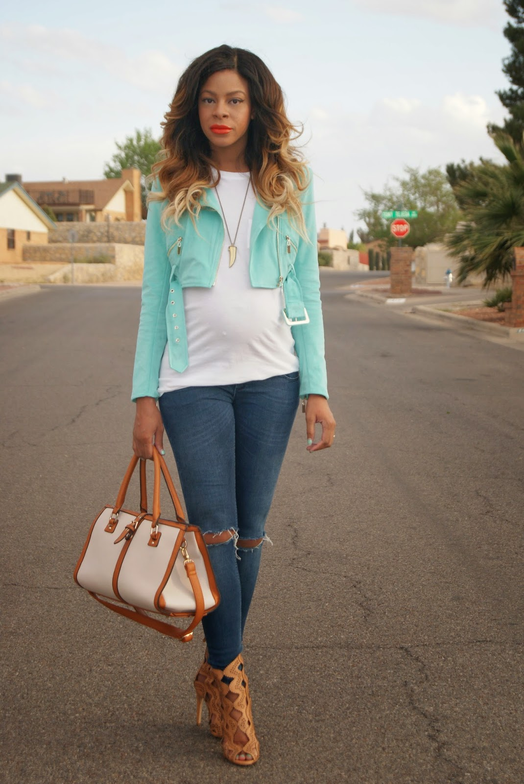 maternity style, bebe jacket, suede jacket, tiffany blue, ombre hair, orange lips, allthingsslim