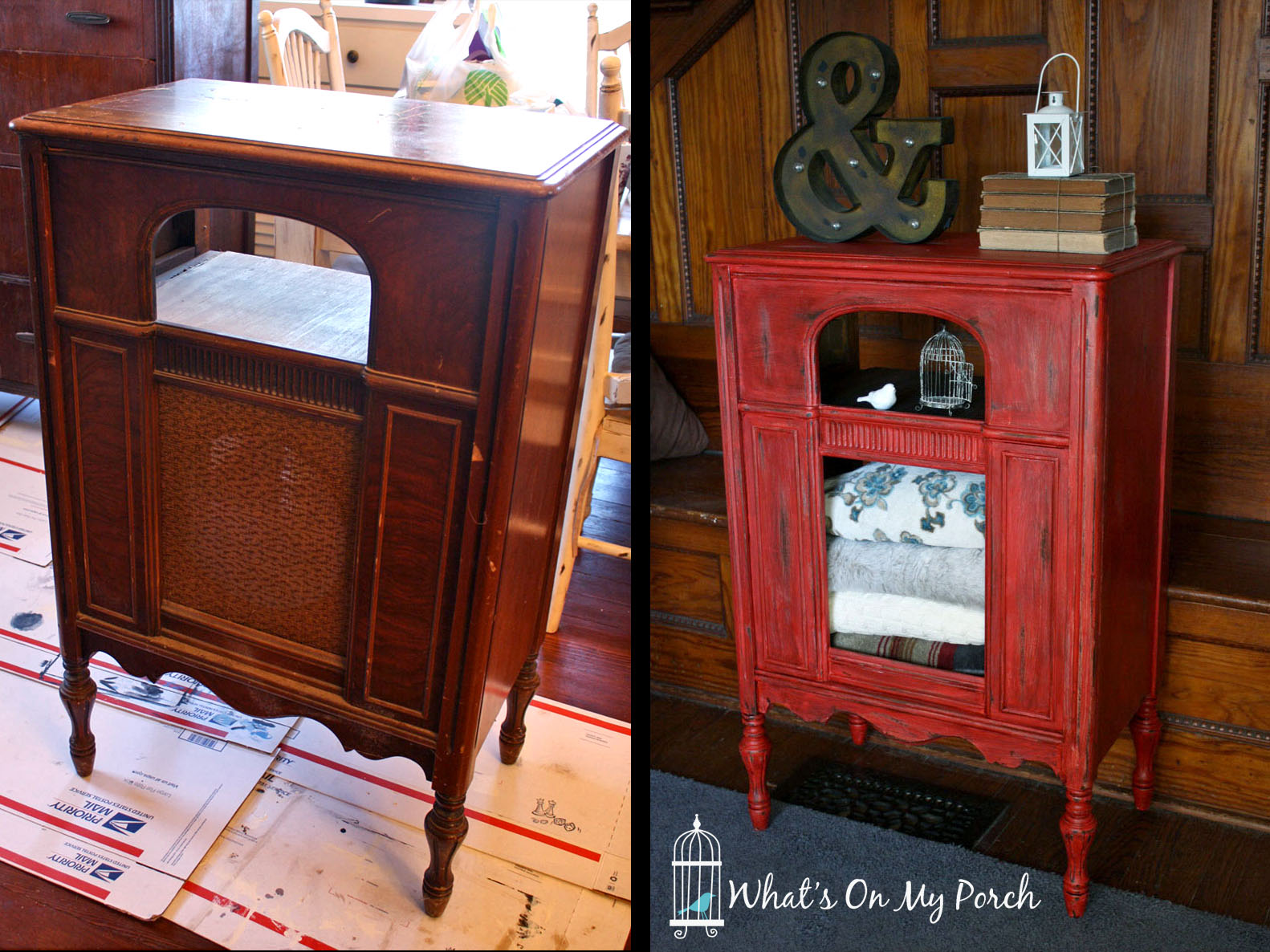 Red Radio Cabinet - What's On My Porch: Red Radio Cabinet