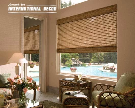 Bamboo curtains for window coverings in home interior for Window treatment manufacturers