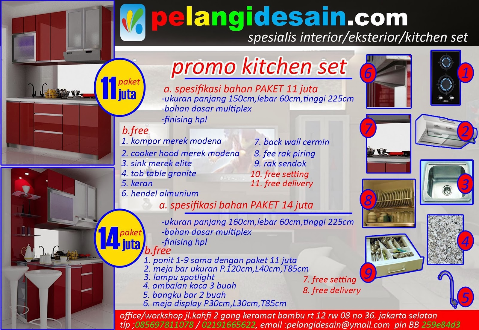 Kitchenset pelangi desain interior promo paket kitchen for Paket kitchen set murah