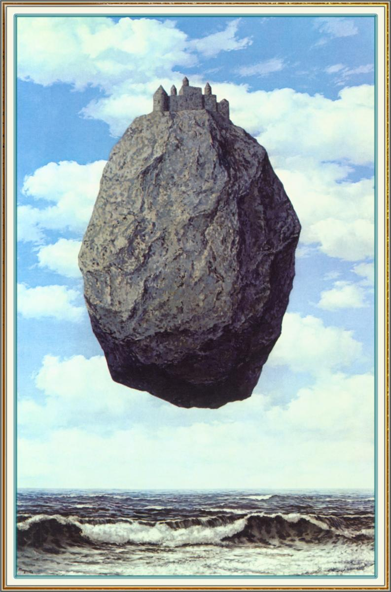 Castle in the Pyrenees, painting of a huge floating rock by Rene Magritte