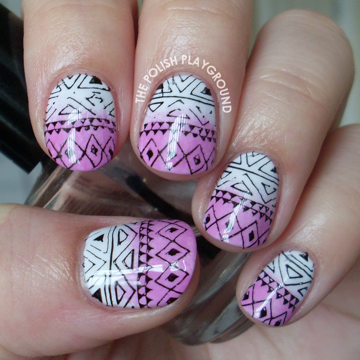 Purple Gradient Tribal Print Stamping Nail Art