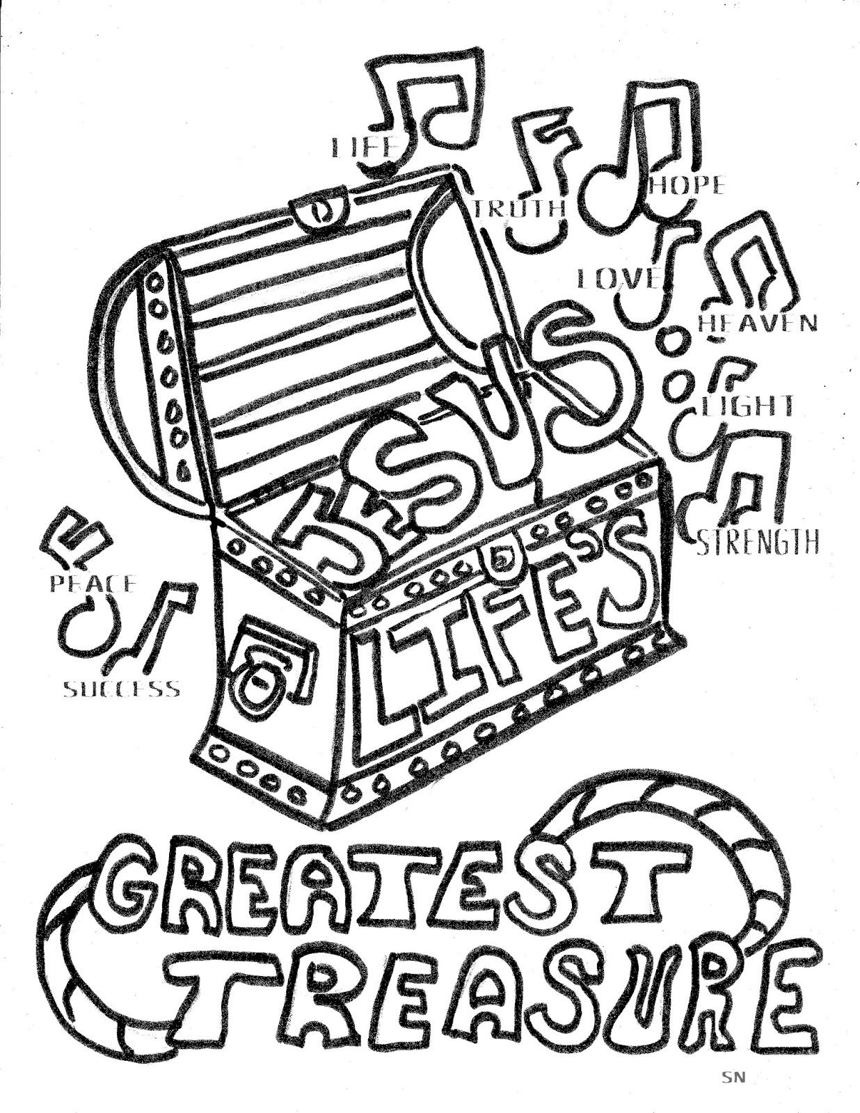 Children 39 s gems in my treasure box jesus life 39 s greatest for Treasure coloring pages