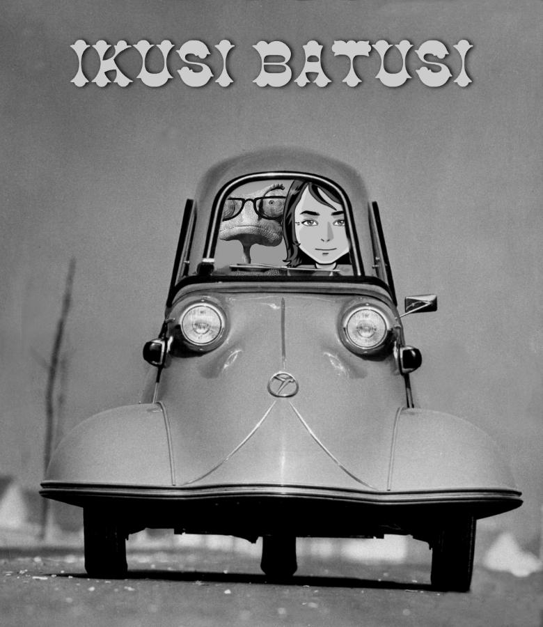 cartel en blanco y negro de un coche antiguo de ikusi batusi