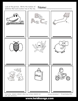 math worksheet : how to teach syllable counting and a freebie!  heidi songs : Kindergarten Syllable Worksheets