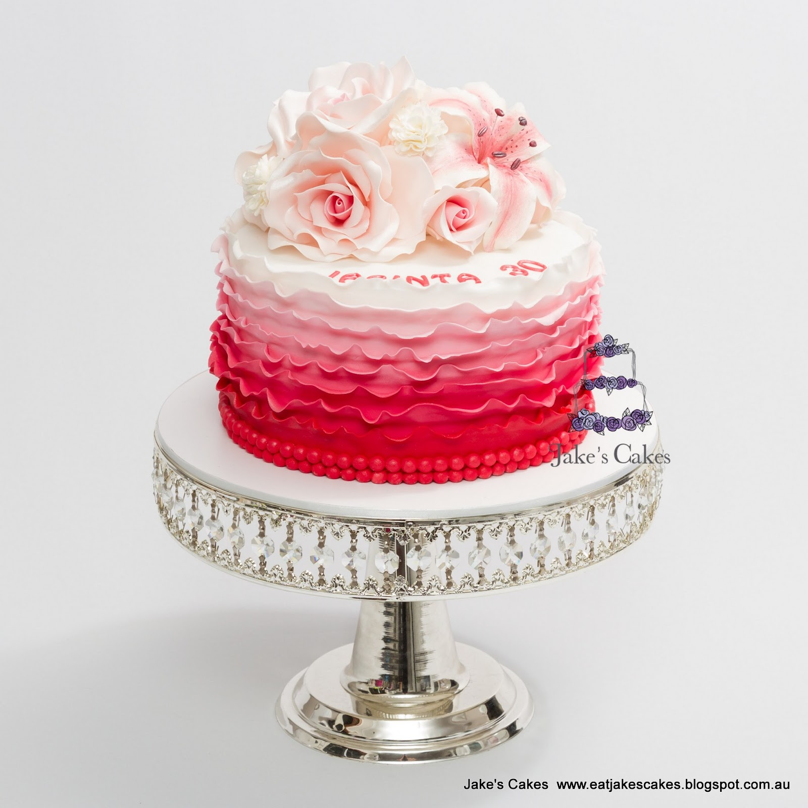 Jakes cakes ombre ruffles and sugar flowers ombre ruffles and sugar flowers izmirmasajfo