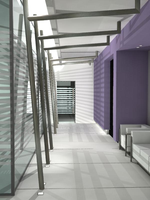 Visualizacion arquitectonica hall acceso oficinas loreal for Muebles de oficina olivos