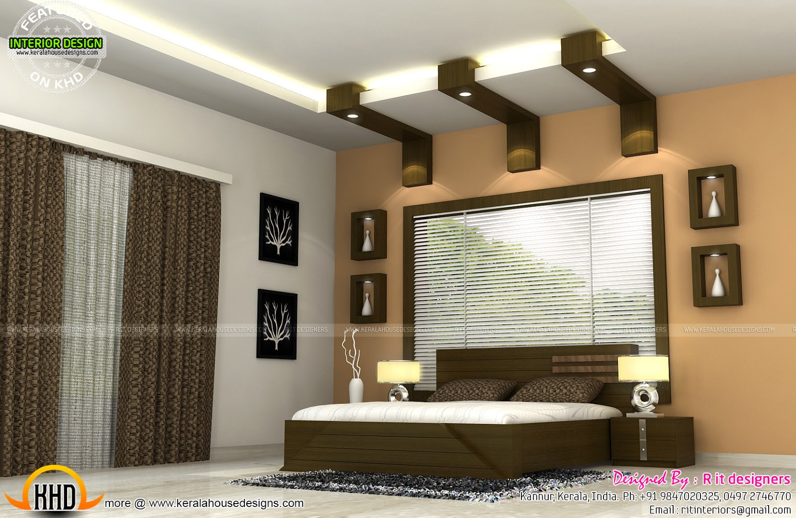 Interiors of bedrooms and kitchen kerala home design and for Home plans with interior pictures