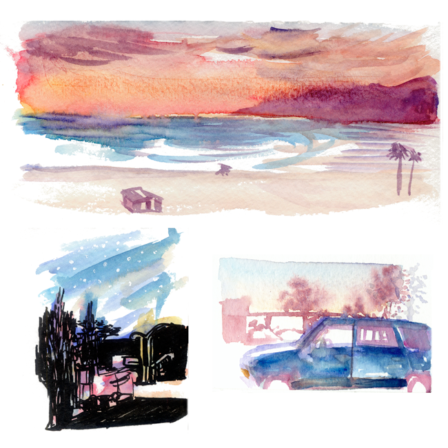 "Shiho Nakaza ""Los Angeles"" ""Santa Monica"" sunset watercolor sketch"