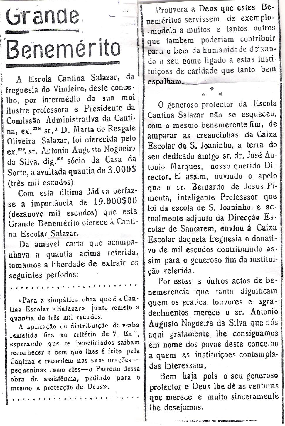 Benemérito-Escola Cantina Salazar 1946