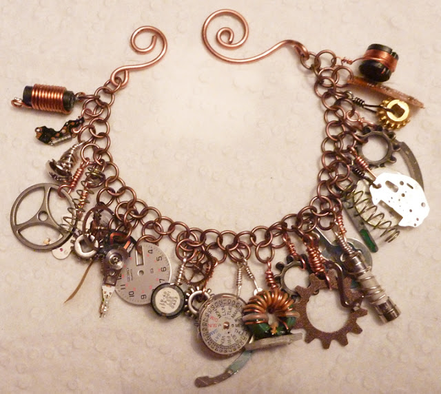 copper and found objects bracelets