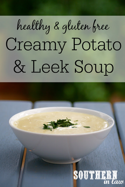 Low Fat Creamy Potato and Leek Soup Recipe | low fat, low calorie, gluten free, healthy soup recipe