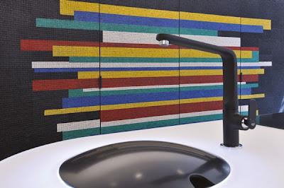 diseño de cocina moderna mosaico decorativo