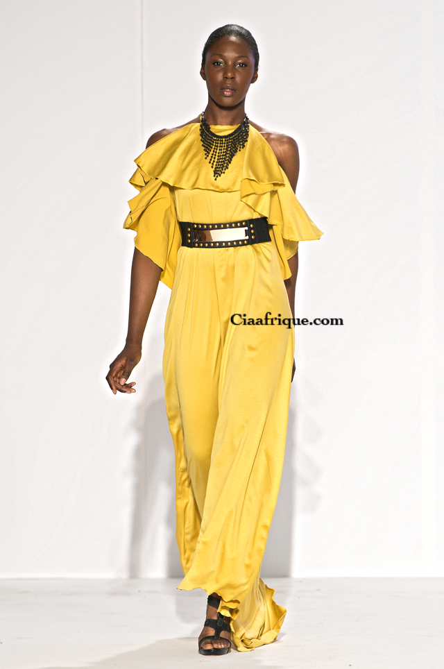 labo ethnik fashion weekend 2013: Thula Sindi - South African fashion Designer yellow dress