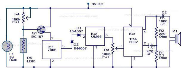 Free Circuit Diagrams: Fire Alarm LDR