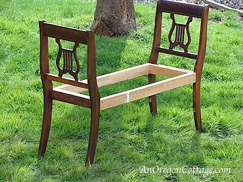how to make a french styled bench from old chairs