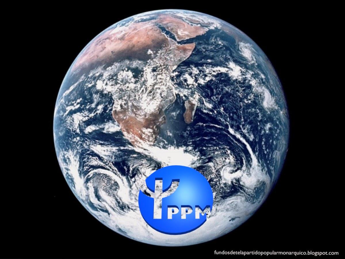 Wallpaper do Partido Popular Monárquico emblema inclinado do PPM para utilizar como fundo de tela do seu ambiente de trabalho. Fundo de tela Planeta Terra visto do Espaço