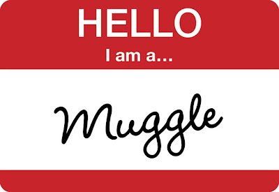 hello name badge with muggle written on it