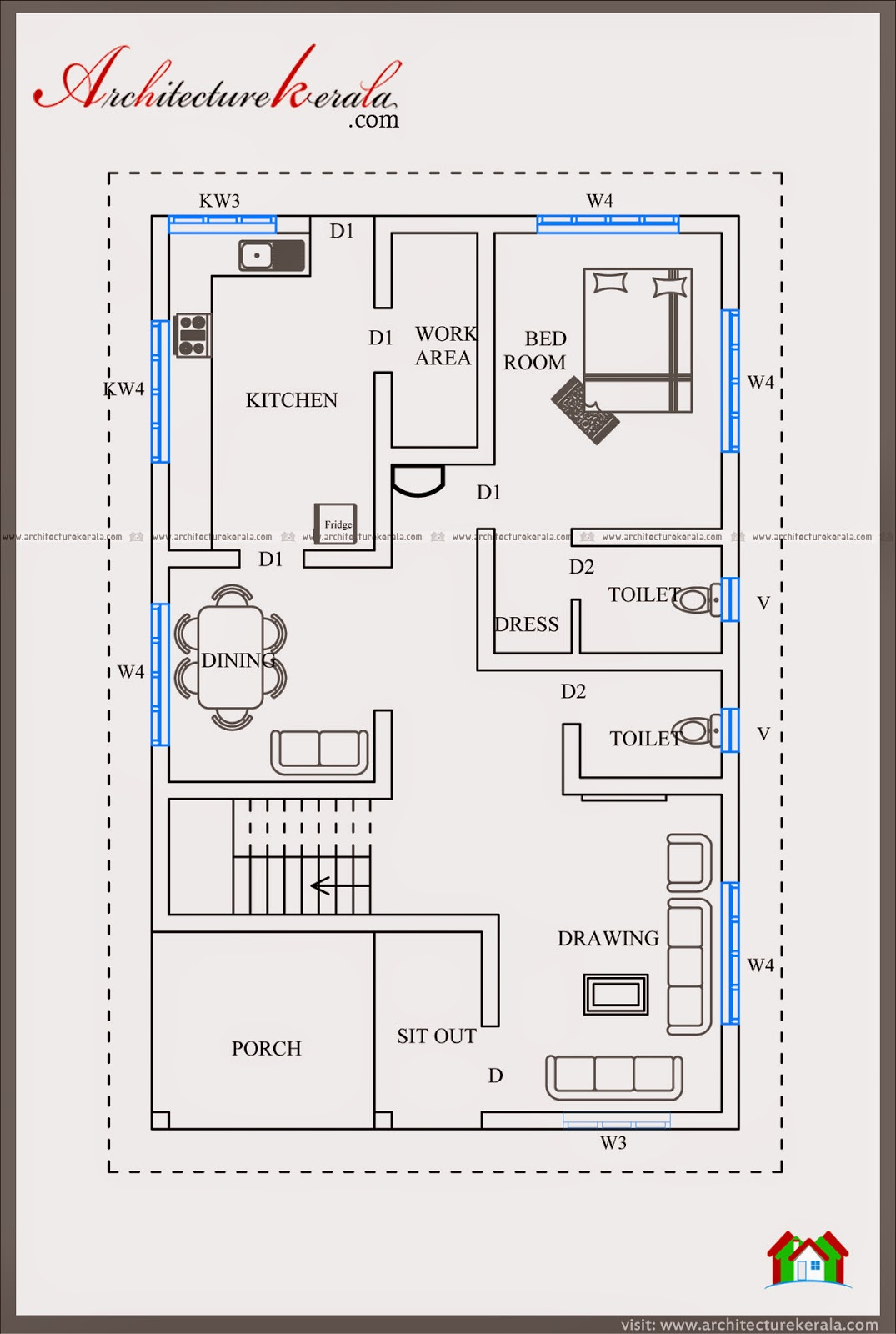 Elevation Rv Floor Plans : Sf house plan and elevation architecture kerala
