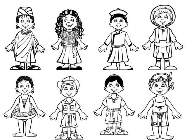 Children around World Coloring Page
