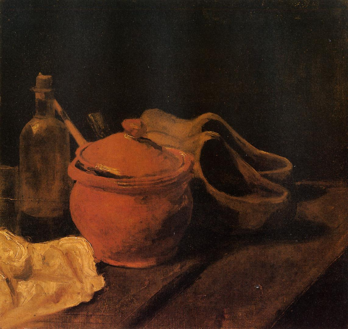 Still Life With Earthenware, Bottle, and Clogs by Vincent van Gogh