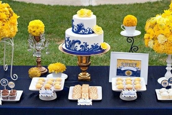 decoracao azul royal e amarelo casamento:Amarelo+Azul marinho: