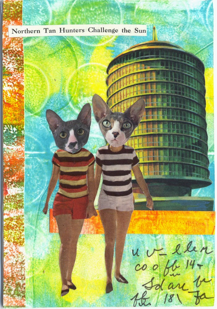 collaged postcards with cats