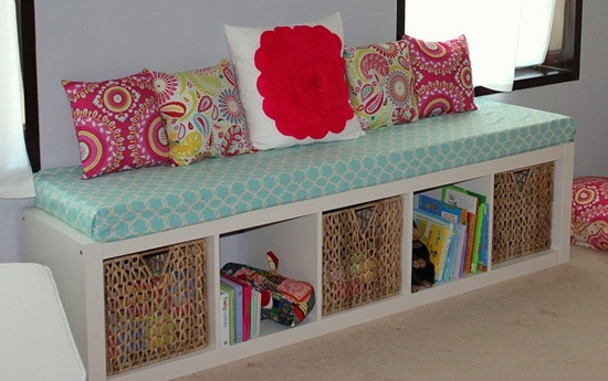 Make a window seat from a shelf