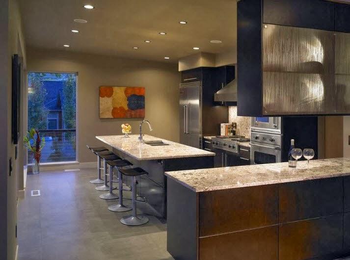 Isla de cocina cubierta con tablero de granito - Cocinas de diseno con isla ...