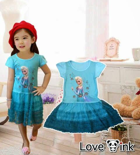 Dress Kids Frozen Elsa - Dress Love Ink - Harga Saudara