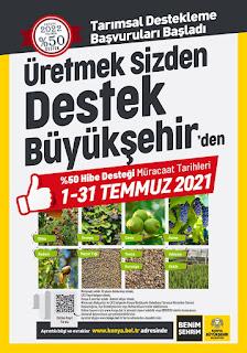 Büyükşehir Belediyesi 2022 %50 Hibe desteği başvuruları başladı.