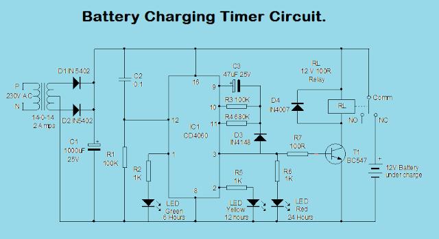 Battery Bcharging Btimer Bcircuit on Single Phase Motor Contactor Wiring Diagram Elec Eng World Png