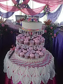 .wedding cake & cupcakes tower.