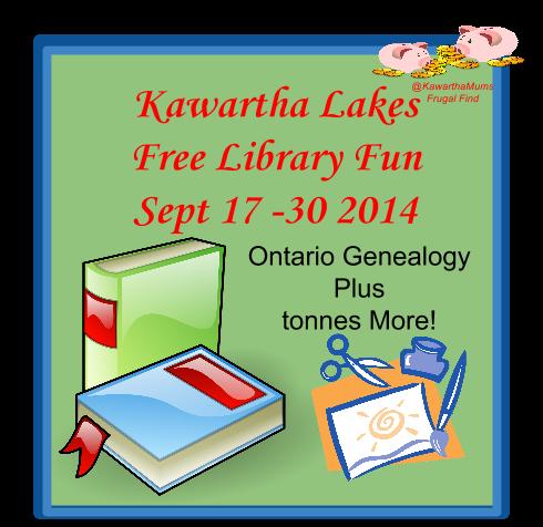 Kawartha Lakes events-Free Library Activities Sept 17 - 30 Ontario Genealogy  PLus!