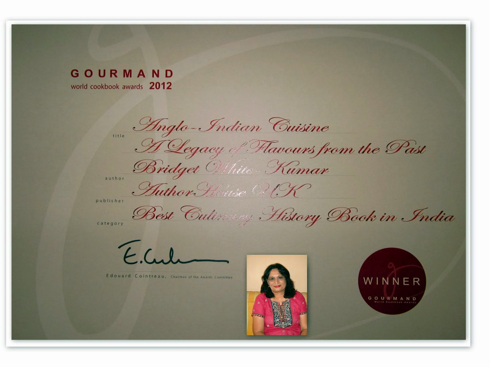 Certificate from GOURMAND WORLD COOK BOOK AWARDS 2012