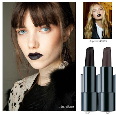 Темные оттенки Make Up Factory Magnetic Lips, shades 500 and 420, макияжи с показов Ungaro and Giles fall 2015